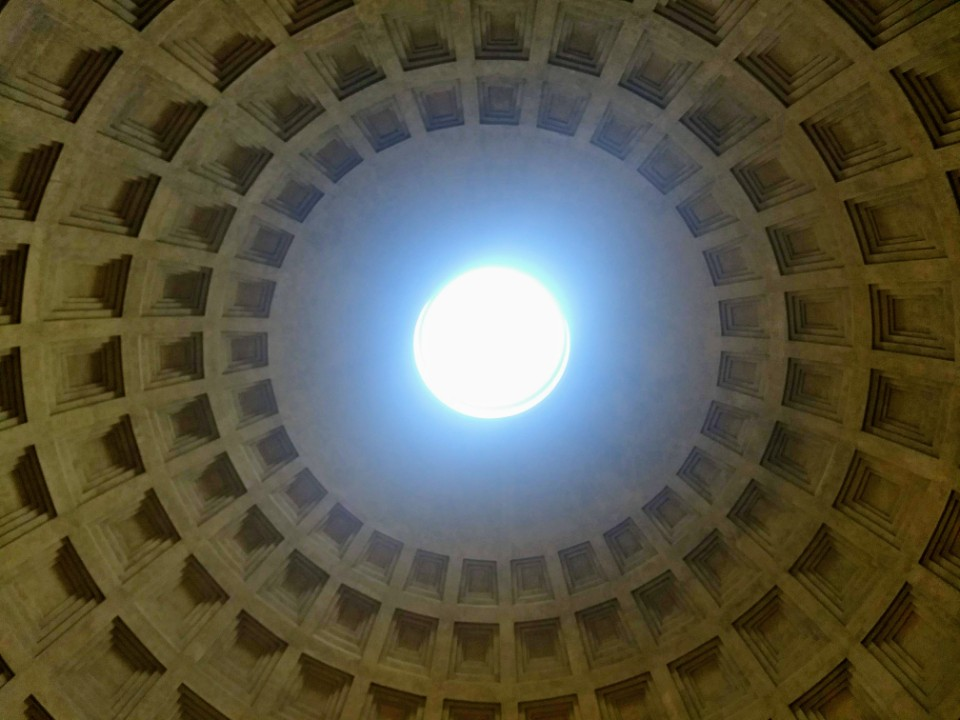 Photo of interior Pantheon ceiling, Rome.