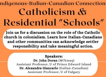 """Description of Indigenous-Italian-Canadian Connections: Catholicism and Residential """"Schools"""" event in black font on white and orange background"""