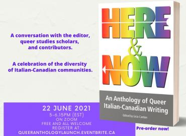 book cover of Here & Now and June 22 launch event