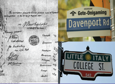 One black and white image of the Toronto Purchase of 1805. Two colour photos of street signage for Davenport Road and College Street.