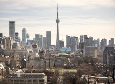 Photo of Toronto skyline and u of t downtown campus